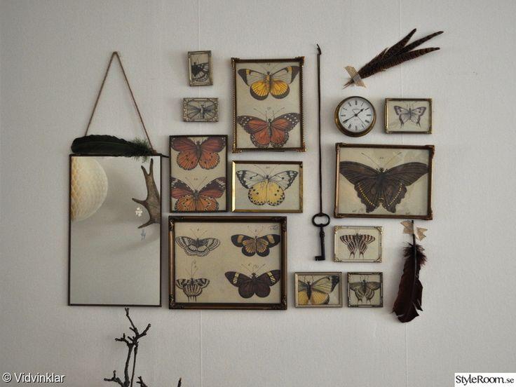 vardagsrum,vintage,second hand,fjärilar,ramar