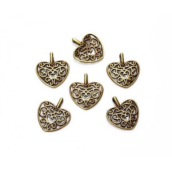 Filigree Heart Charms Pendants Antique Bronze Beautiful finish