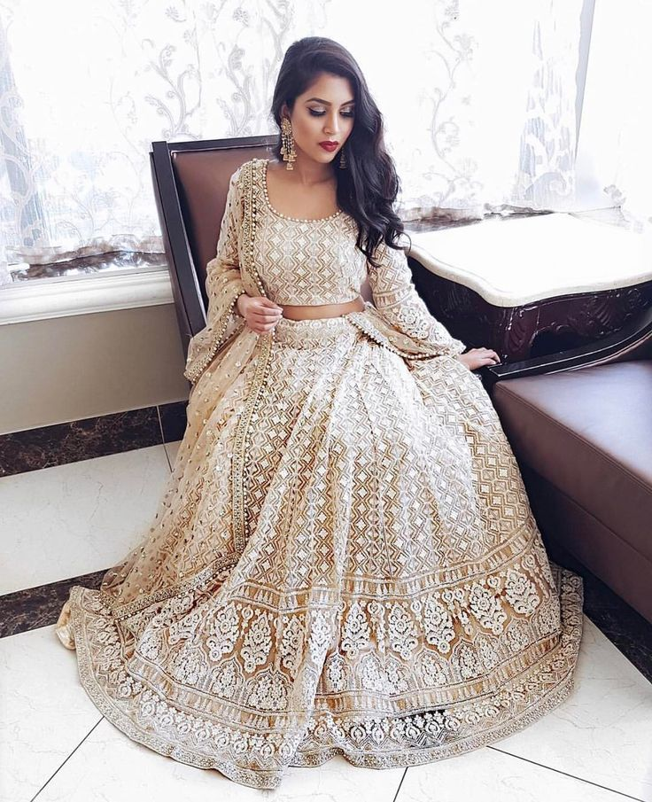 "1,598 Likes, 21 Comments - Raman And Gurp (@luxiecouture) on Instagram: ""Gorgeous @akshita.u in gold and white thread lengha choli ✨✨✨ For any inquiries email…"""