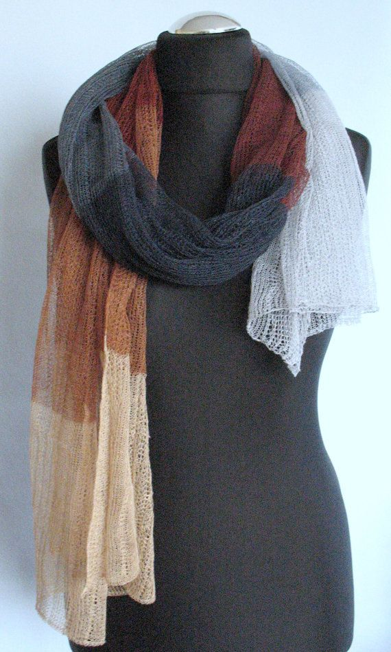 Linen Scarf Shawl Wrap Stole Beige Brown Gray by Coloredworld