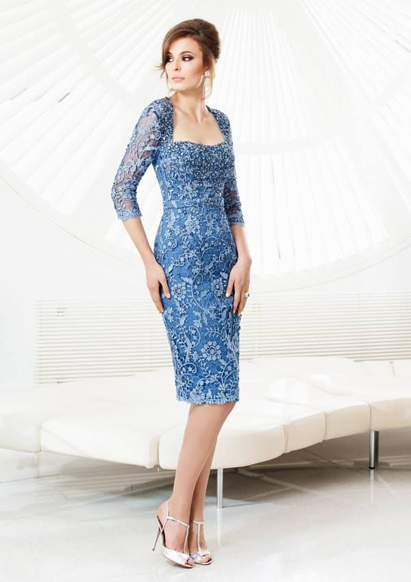 Style EZYVI Lace  Dress  Colors Available: Wedgewood. Sizes Available: 2-26* *Please refer to the VM size chart.