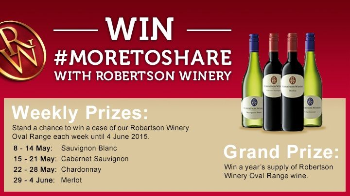 I just entered to WIN a year's supply of wine with @Robertson Winery. #MoreToShare
