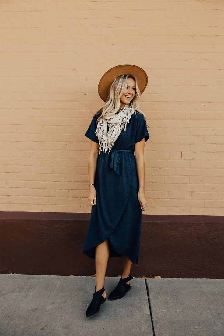 Navy Wrap Dress for Fall   ROOLEE