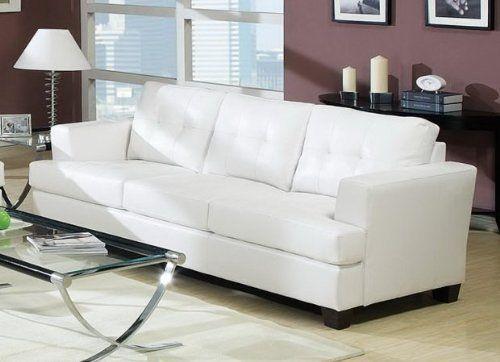 Diamond Bonded Leather Sofa with Wood Leg, White