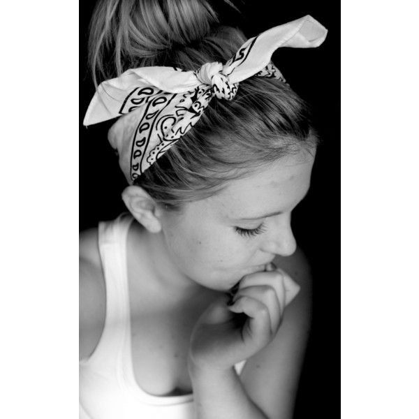 messy bun with bandana headband! Obsession of the week ❤ liked on Polyvore featuring hair, hairstyles, hair styles, people and beauty