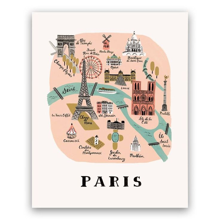 Rifle Paper Co. Paris Map Art Print - 8x10 by Rifle Paper Co. | Maps Gifts | chapters.indigo.ca