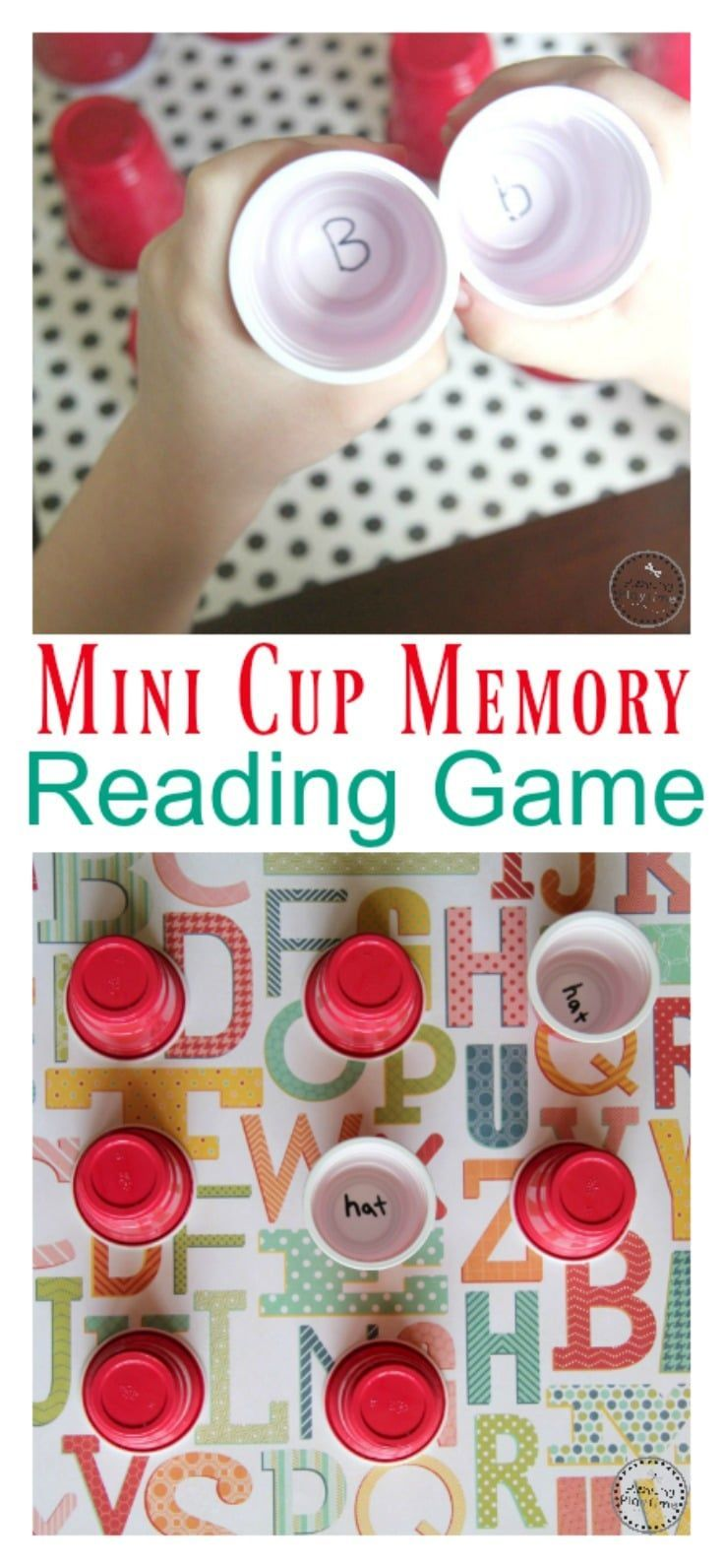 Mini Cup Memory Reading Game or Alphabet Match.