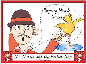 """Four rhyming words games are included based on the rhyming words in """"Mr McGee and the Perfect Next"""" by Pamela Allen. This is a hands-on activity which is terrific for literacy rotations or fast finishers.Please note that you will need a copy of the picture book to make the best use of this resource.There are three different 'twists' in one of the rhyming words games using the Lazy Bird cards for players to either lose their cards, miss a go or have another turn.Also included in this…"""