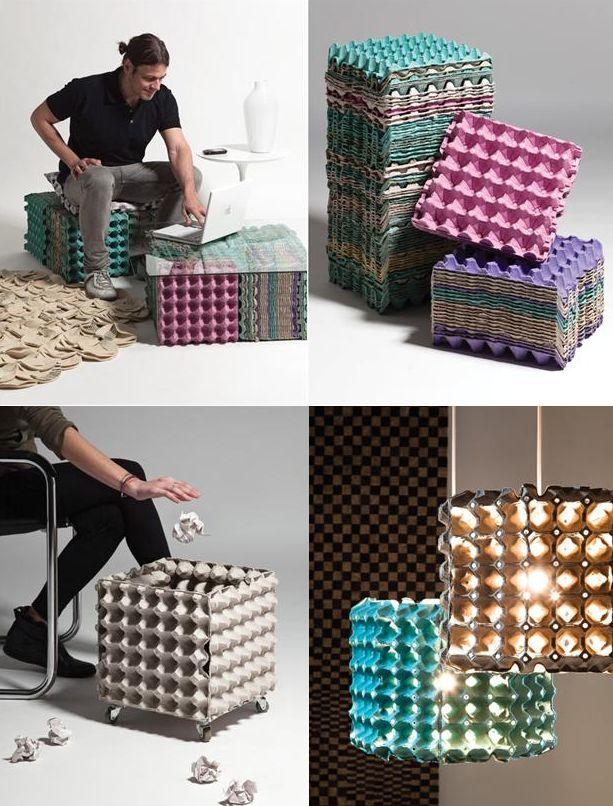 meubles en carton oeufs Meubles créés à partir de cartons doeufs recyclés