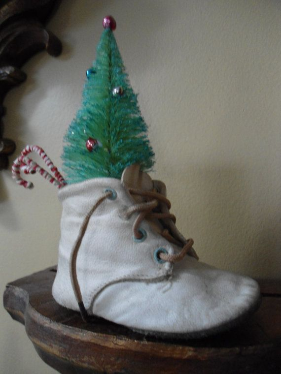 Vintage Shoe with Bottle Brush Tree and Candy Canes, Shabby Chic Christmas, Vintage Christmas, Rustic Christmas, Country Christmas