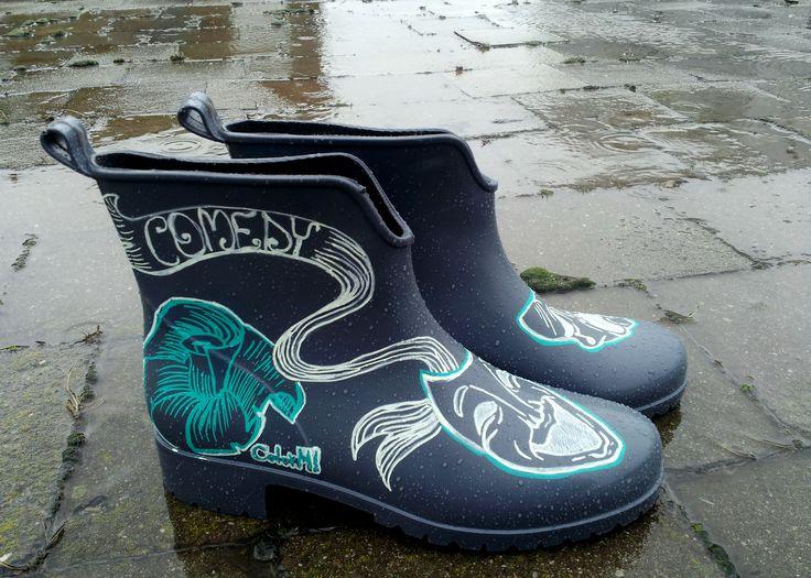 #Handpainted#Rain Boots