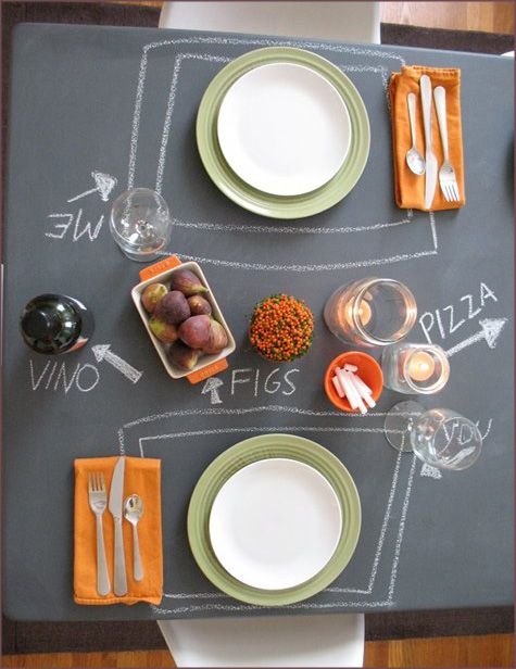 Dining table makeover-- DIY chalkboard paint top