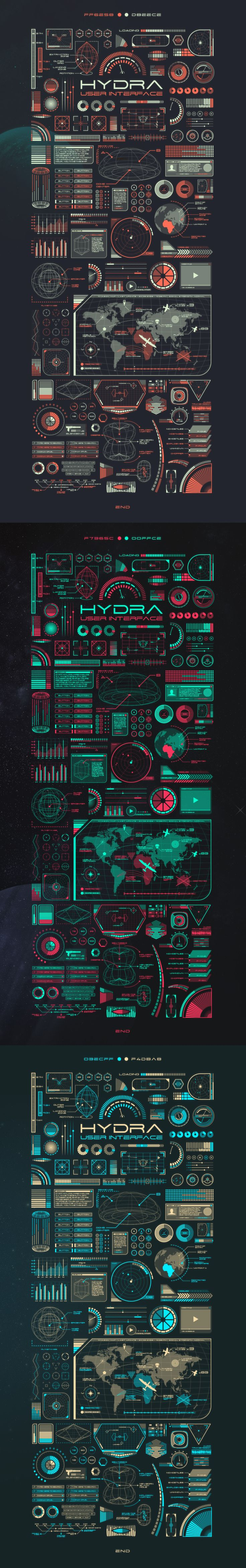 Hydra UI on Behance  https://www.behance.net/gallery/29380757/Hydra-UI