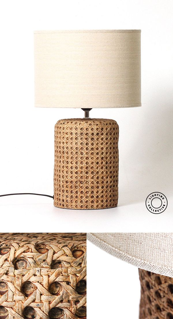 Open Weave Concrete Rattan Table Lamp | Diy table lamp ...