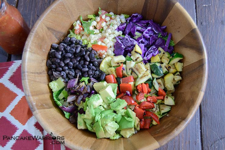 This Grilled Veggie Mexican Chopped Salad is the perfect way to use up leftover grilled vegetables! Low fat, vegan and easy to make!