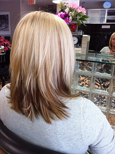 Reverse Ombre extra blonde  I love the texture this gives! Just had my hair done in these colors. My hair was just cut into a short to medium bob about month ago. I am working to grow it back out.Well just got hair done again at Roots Salon on 12/15/12, I am so keeping same length for the texture and flow it gives.