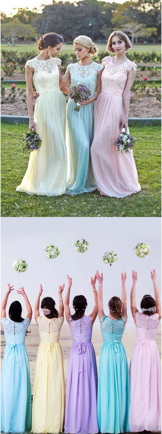 Simple Cheap Bridesmaid Dresses, Chiffon Bridesmaid Wedding Party Dresses with Lace,  Long Prom Party Dresses