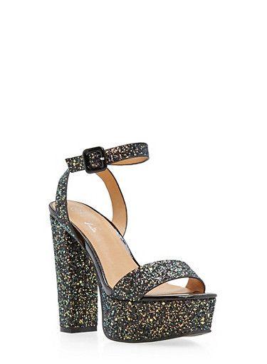 $24.99--11--5in--Ankle Strap Glitter High Heel Platform Sandals,BLACK GLITTER