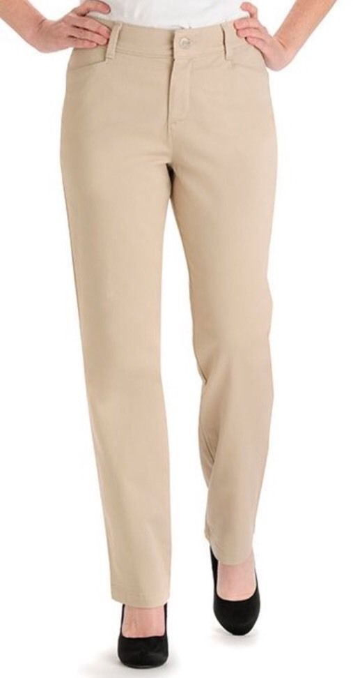NWT LEE RELAXED FIT PLAIN FRONT JEANS - BRITISH KHAKI - SIZE 6 TALL  #Lee #StraightLeg