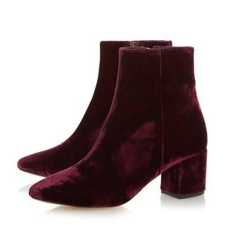 Sport this season's hottest finish with Pebble, made from luxurious velvet. Made in Spain, it features a low block heel and inside zip fastening. Leather lined and finished with a neat round toe.
