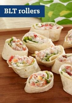BLT Rollers -- We've never met a BLT we didn't like, and our appetizer version is no exception. All the elements of the classic recipe, rolled and cut into bite-size pieces to share with your peeps.