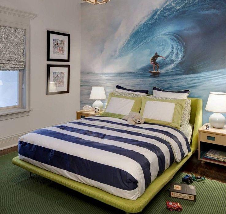 déco chambre enfant sur le thème surf et grand lit avec linge de lit ...