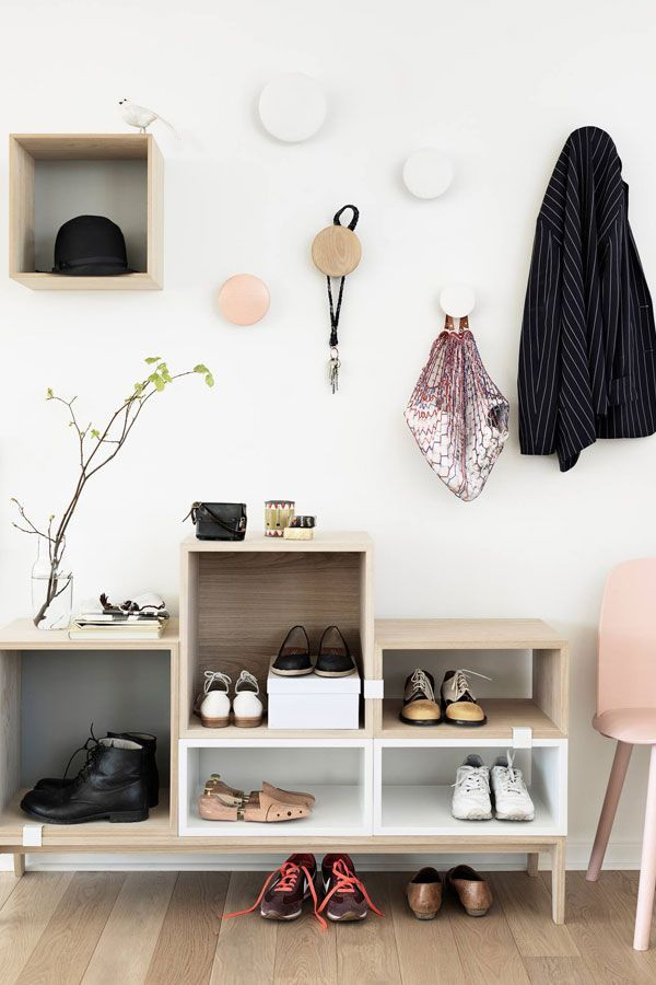 Wonderful 63 Clever Hallway Storage Ideas : 63 Clever Hallway Storage Ideas With White Wall Wooden Storage Cabinet Hat Shoes Chair Hardwood ...