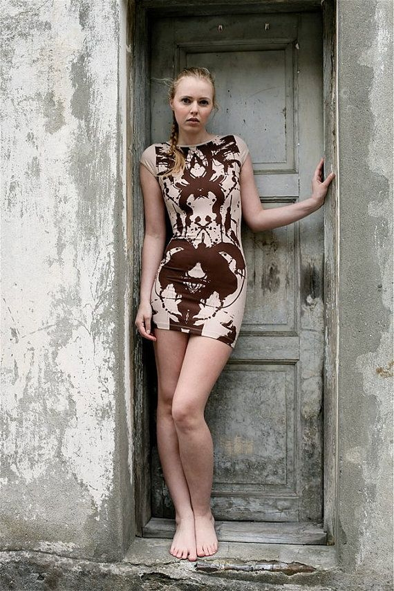 Mini dress with hand made print . by VoodooLovesick on Etsy, kr699.00