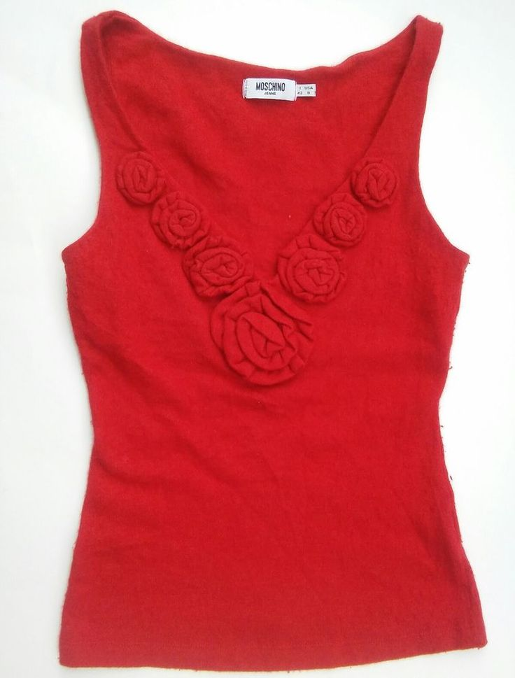 Moschino Jeans Red Flower Wool Blend Tank Size IT42 8US Made in Italy #Moschino #TankCami #Casual