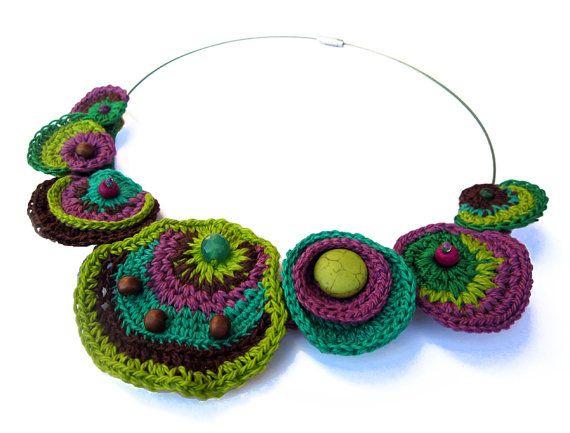 Multicoloured cotton yarn crocheted necklace, acid green, emerald green, purple, brown, beads, freeform, summer, spring