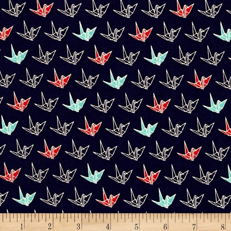Cosmo Sakura II Origami Navy from @fabricdotcom  From the Cosmo Textile Company, this cotton print collection is made in japan and features Asian designs. Perfect for quilting, apparel, and home decor accents. Colors include navy blue, teal, red, and white.
