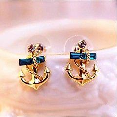 Moda Dulce (Anclas) Pendientes cristal azul gota (de oro) (1... – MXN $ 101.29