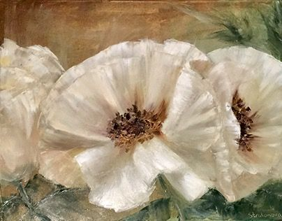"""Check out new work on my @Behance portfolio: """"White poppies. Oil on canvas."""" http://be.net/gallery/46687697/White-poppies-Oil-on-canvas"""
