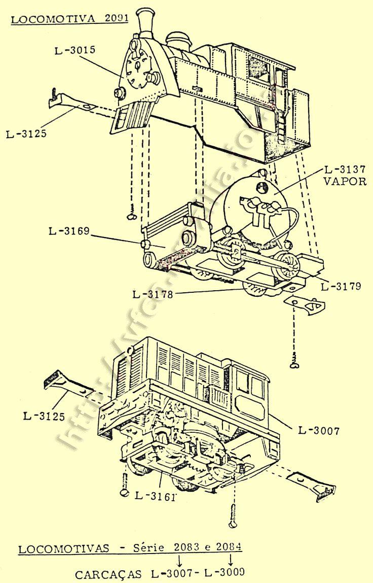 Diagramas de montagem e códigos das peças de reposição das locomotivas de manobra Atma // Diagramas de montagem do trem elétrico Atma Locomotivas curtas