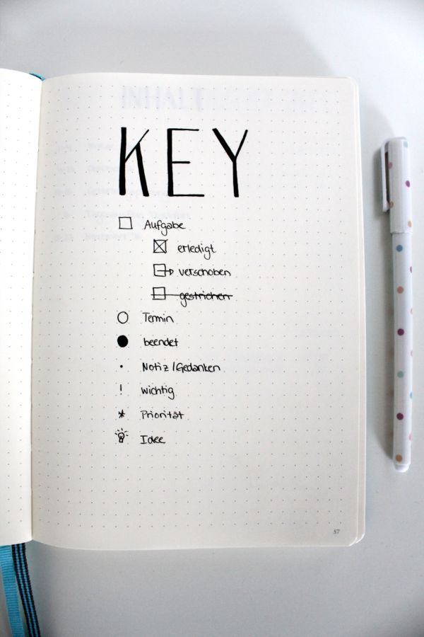 Bullet Journal Key Key Bulletjournal Notizbuch Notebook