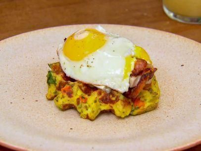 "Open-Faced Waffle Cornbread Stuffing Sandwiches with Turkey, Brie and Bacon (Almost Home for Thanksgiving) - Bobby Flay, ""Brunch at Bobby's"" on the Food Network."