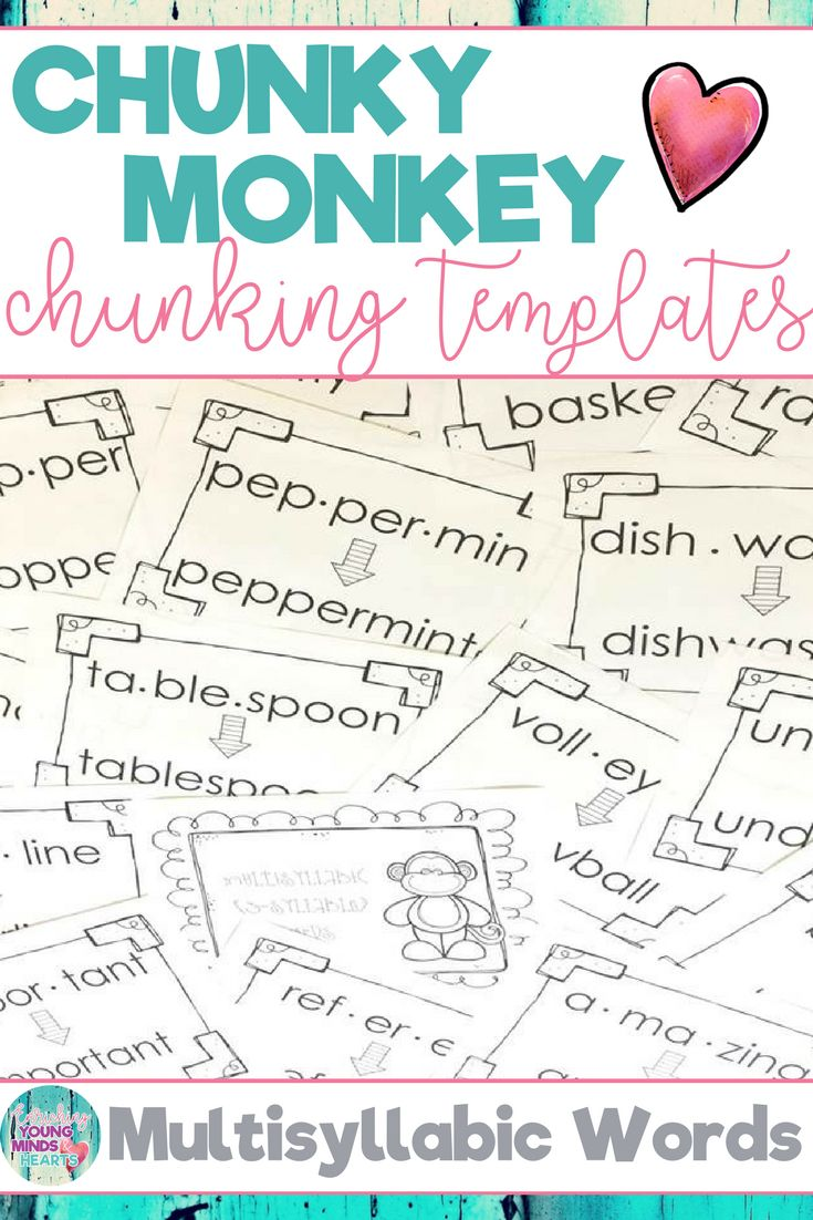 Hundreds of phonics word activities to help students with the chunking reading strategy. Teachers, parents and other paraprofessionals will be teaching children to recognize bigger chunks in words rather than reading sound by sound with the fun ideas in these templates. Great for individual or small group literacy instruction for children of any age. Click the link to help your students meet the phonics Common Core State Standards! #phonics #chunking #reading