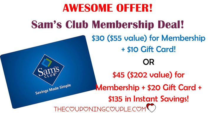 Here's Your Chance! Get a Sam's Club Membership for as low as $30 plus a  $10 Gift Card! Or pay as low as $45 with a $20 gift card and $135 in instant savings! GO NOW!  Click the link below to get all of the details ► http://www.thecouponingcouple.com/hot-sams-club-membership-deal-as-low-as-25-per-year/ #Coupons #Couponing #CouponCommunity  Visit us at http://www.thecouponingcouple.com for more great posts!