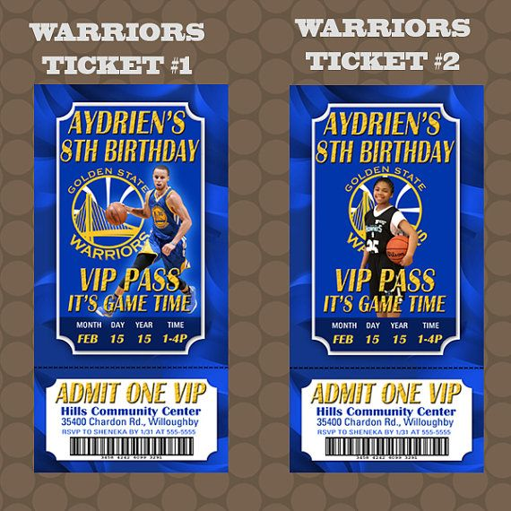 Golden State Warriors Basketball Birthday Party ticket invitations by KDesigns2006