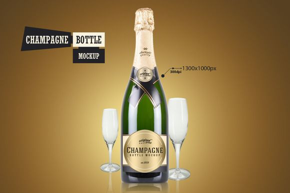 Champagne Bottle - Mockup by VectorMedia on @creativemarket