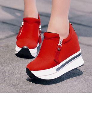 Zapatos Plataforma De mujer Plataforma Lona Tacón plano - Floryday @ floryday.com