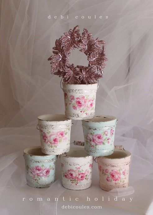 Shabby Romantic French Roses Bucket Ornaments