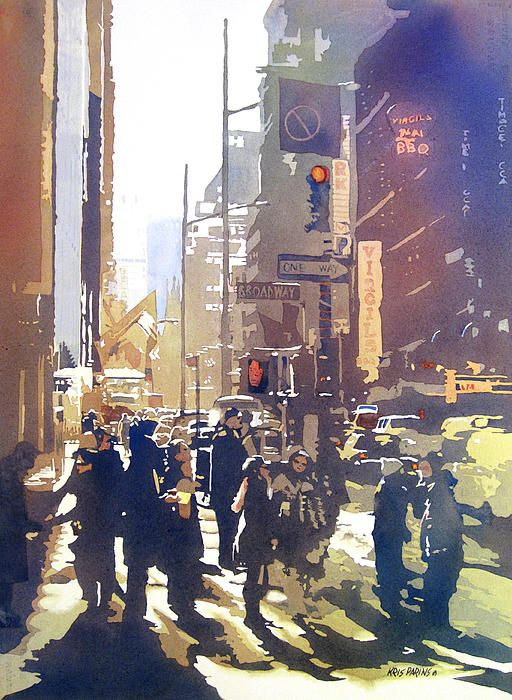 The busy corner in Times Square is dramatized by shafts of light filtering through the tall buildings. City Light was included in the American Watercolor Society and Florida Watercolor Society Annual Exhibitions, 2013. The original is currently on hold for exhibition. Somerset Velvet is recommended for prints. New York City   NYC. By Kris Parins