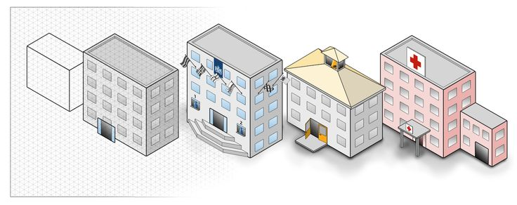 Isometrisch getekende gebouwen die sectoren binnen overheid (openbaar bestuur, onderwijs, zorg) representeren.