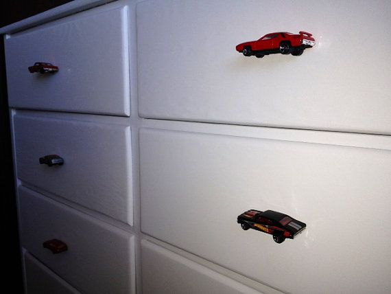 My diy, i replaced the boring knobs with toy cars for our toddler ...