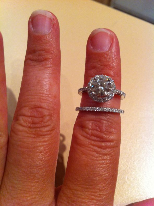 Split Shank Engagement Ring With Stacking Bands