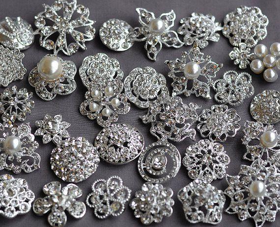 SALE 10 pcs Assorted Rhinestone Button Brooch Embellishment Pearl Crystal Button Wedding Brooch Bouquet Cake Hair Comb BT165