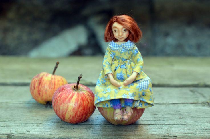 Miniature dollhouse doll girl by FairytaleSaara on Etsy