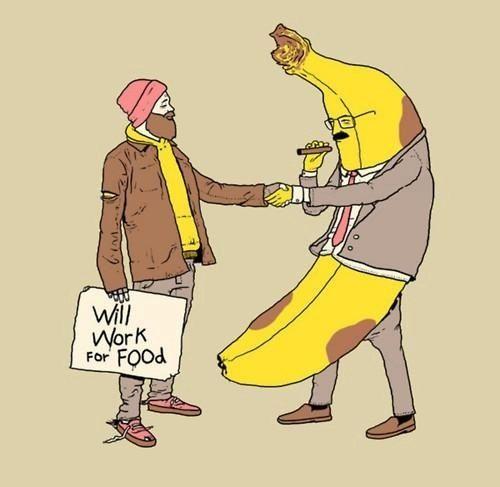 Hahahahahaha: Work, Mondays, Funny Pictures, Food, Bananas, Graphics Design, Friday Funny, Elementary Schools, Funny Art