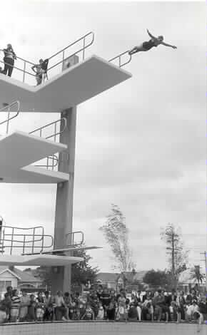 Diving from the tower at Harold Holt Pool, 1969.